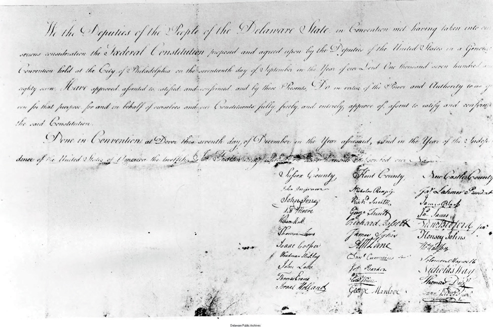 Courtesy of the Delaware Public Archives, this is a copy of Delaware's ratification of the United States Constitution on Dec. 7, 1787.