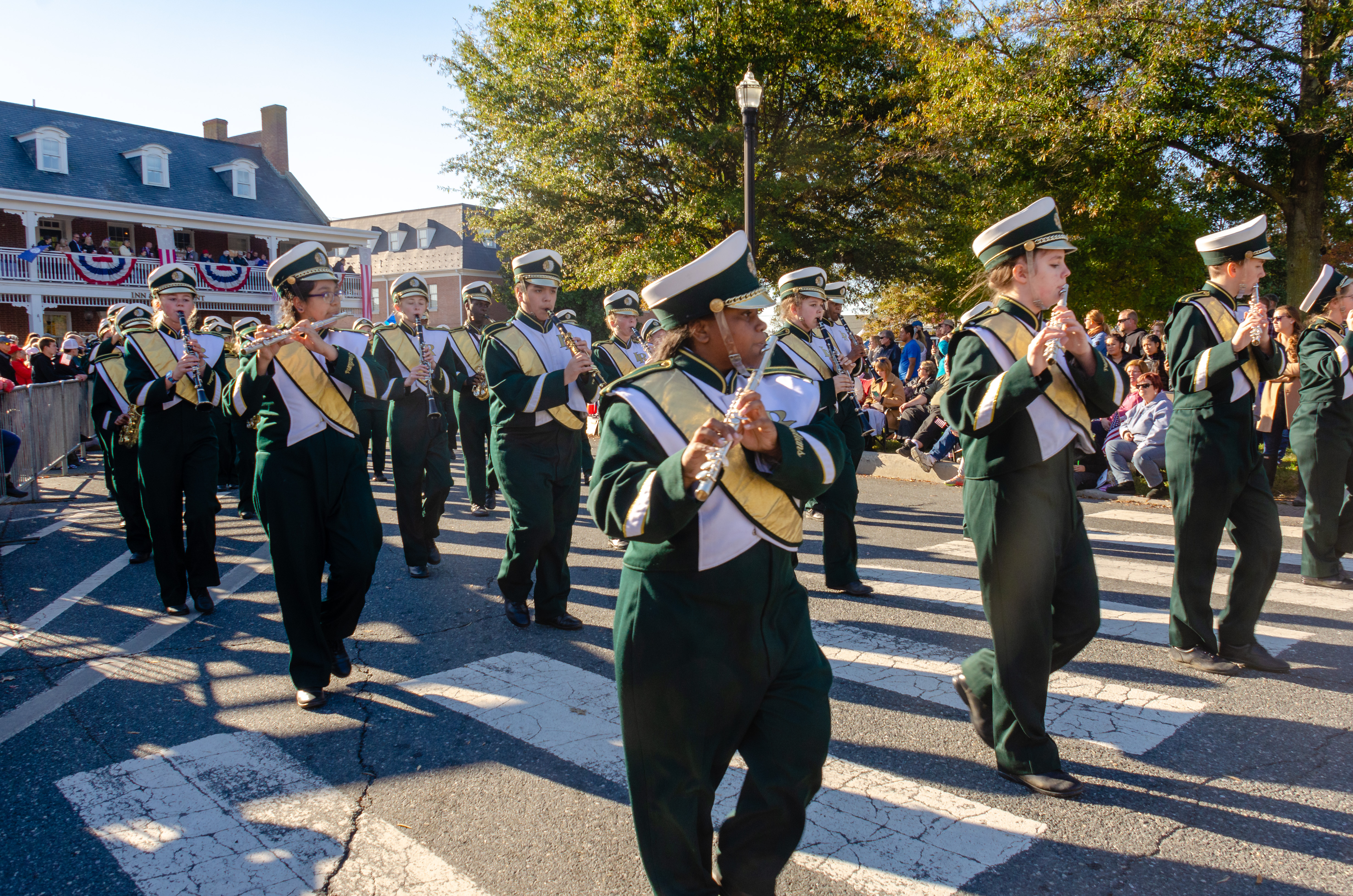 Indian River High School Marching Band performs at the 2018 Return Day Parade in Georgetown.
