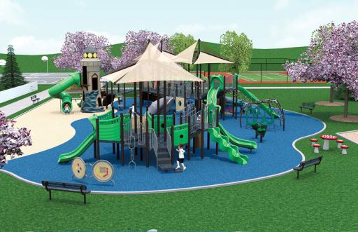 These renderings show the future town park.