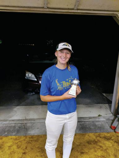 Indian River's Abby O'Shields shows off her Blue-Gold All-Star Game Blue MVP trophy. O'Shields earned the honor throwing four innings of no-hit ball with three strikeouts.