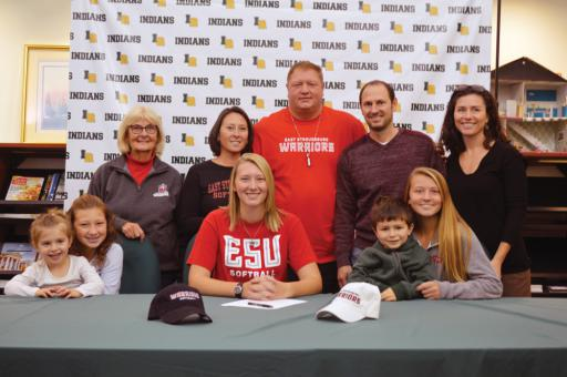 IR senior Abby O'Shields was flanked by several members of her family last week when she announced her intentions of signing to play softball for Division II East Stroudsburg University (PA). The left-handed pitcher chose the Warriors over the University of Delaware and Goldey Beacom. With Abby at the announcement were (front row, left to right) cousin Grace Schifano, sister Parker O'Shields, cousin Anthony Schifano, sister Savannah O'Shields, (back row, left to right) grandmother Ruth Schifano, mother Ther