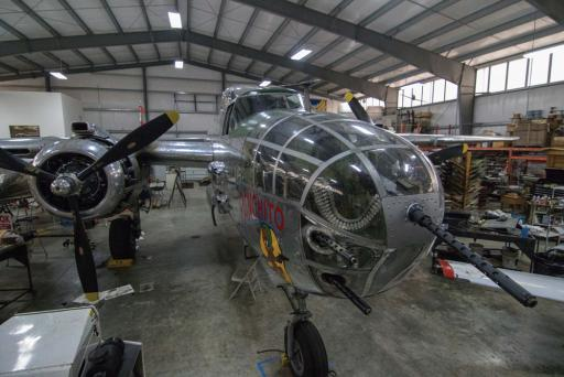 The Panchito, a North American B-25 bomber rests in the museum hangar.
