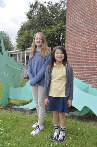 SDSA students Ellie Merrick, left, and Ava Strong and put their art skills to the test, winning prizes in the 2019 Delaware Arbor Day Poster Contest.