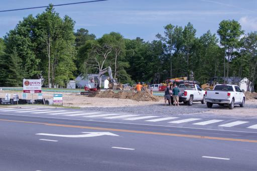 Construction appears back on track at the site of a future restaurant and office/retail space on Route 26.