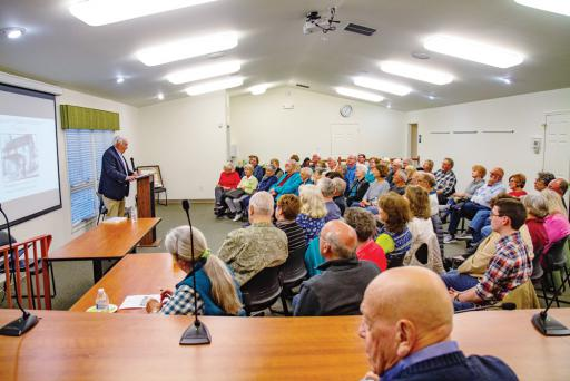 Former Ocean View mayor Gordon E. Wood addresses a crowd at his public lecture on April 3rd.