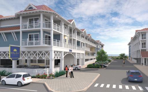 In the summer of 2014, construction began on Bethany's newest hotel, Bethany Beach Ocean Suites, located right on the boardwalk. This image shows the southwestern side of the two-building business.