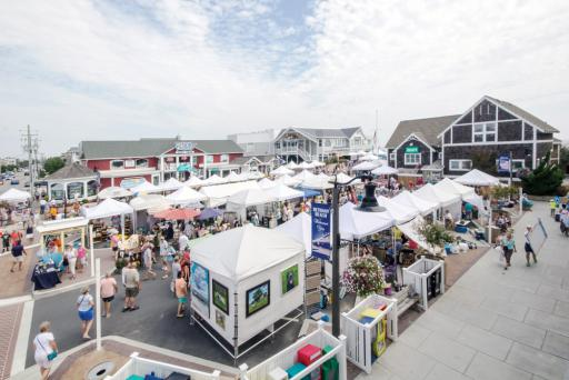 Stalls and shoppers crowd the streets at a previous Bethany Beach Boardwalk Arts Festival.
