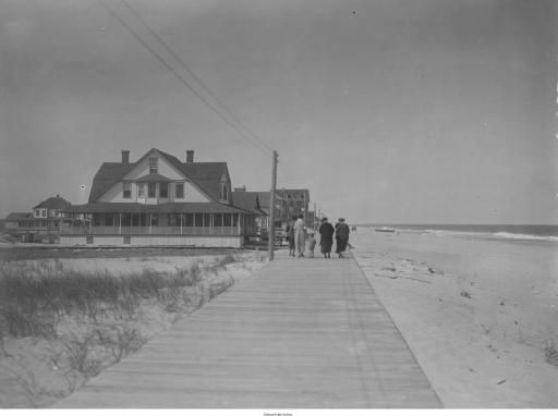 Bethany Beach boardwalk and house of Capt. Ebe T. Chandler, Aug. 1925.