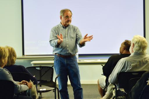 Bill McGowan, a community development consultant, discusses the vast size and different personalities of Sussex County at South Coastal Library as part of the 38th District Democratic Committee's 'Lower Sussex Conversations' series.