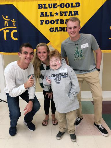 Indian River is being well represented when it comes to the annual Blue-Gold All-Star Football Game this year. During a recent event leading up to the game, IR's Patrick Spencer, left, Kaylee Hall, center-left, and Grant Argo, right, participated in a dance with their 'buddy' Beau Smith, center-right.