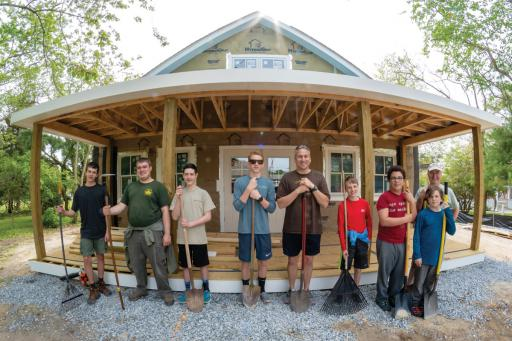 Boy Scout Troop 281 did some clean-up work at Ocean View Historical Society's Hall's Store Visitors Center earlier this month.