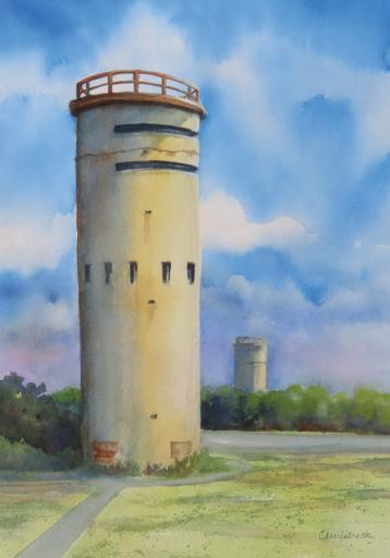 Cheryl Wisbrock's watercolor, 'Towers Three and Four,' is just one of the many pieces of art that will be available during Gallery One's 'Road Trip Along Route 1' show being held from May 29 through June 25.