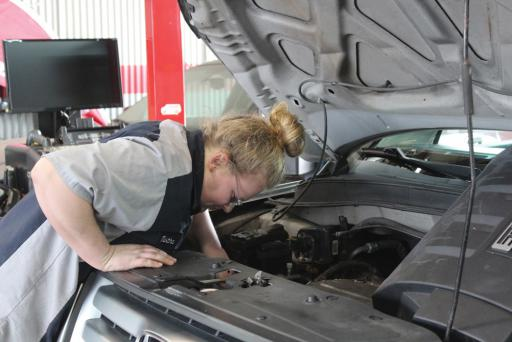 Recent Sussex Tech graduate Tabitha Harris of Milford got hands-on experience toward her career goal of working as a large-engine diesel technician while working at a Dover auto shop during her senior year.