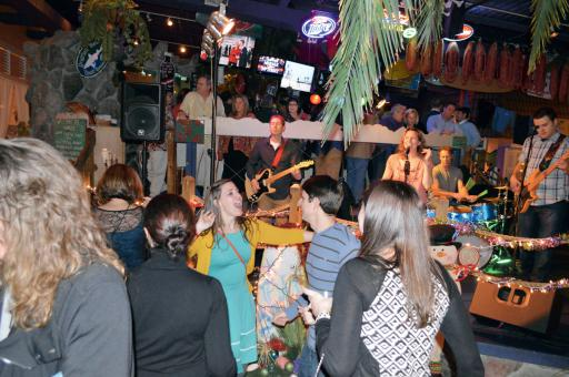 Caribbean Christmas party-goers enjoy the live music at a previous event on the dance floor in Mango's.