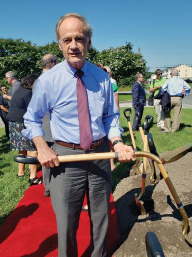U.S. Sen. Tom Carper has his ceremonial shovel ready for the groundbreaking of the new Automotive Center of Excellence at Delaware Technical Community College in Georgetown on Thursday, Aug. 29.