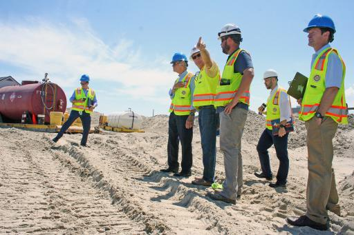 U.S. Senator Tom Carper visits the beach replenishment at Bethany Beach.