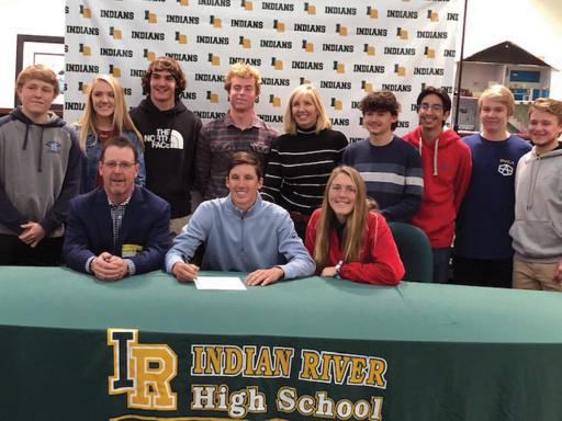 Indian River's Colby Hook gathers with his family and friends at his Eckerd College letter-of-intent signing.