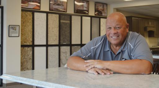 Ron Duley oversees the new Creative In Counters showroom in Frankford.