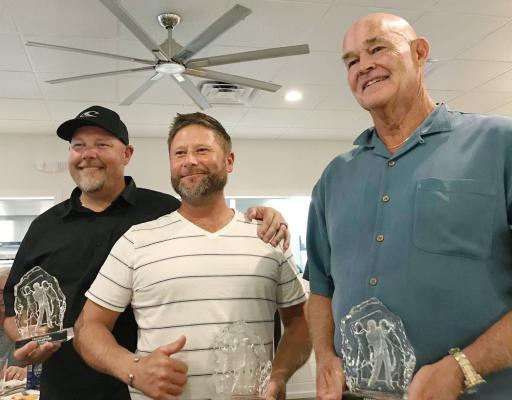 The 2019 3-Man champions (from left: Dave Horton, Matt Piperno and Dale Voorheis) proudly display their trophies.