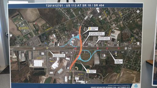 To improve traffic flow of Routes 113 and 18, DelDOT's 'preferred alternative' for a Georgetown overpass would feature ramps built on the northeast and southwest corners of the existing intersection.