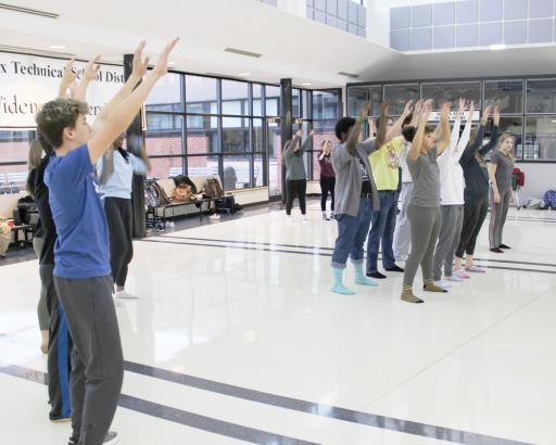 "The cast of the Sussex Technical High School performance of ""Godspell"" rehearses in the school's Commons area."