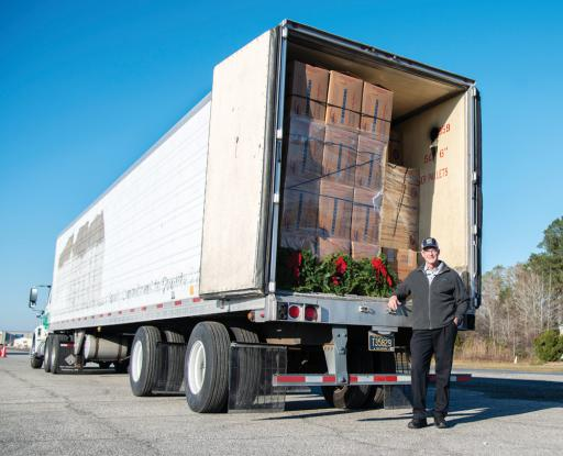 Delaware Tech Commercial Transportation Department Chairperson Bryan Ward transported a tractor-trailer full of wreaths for the Wreaths Across America project.
