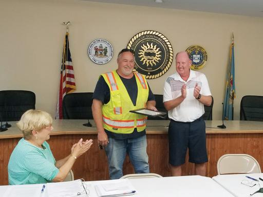 Retiring Public Works Supervisor Don Chrobot was recently honored for his dedication to the Town of South Bethany.