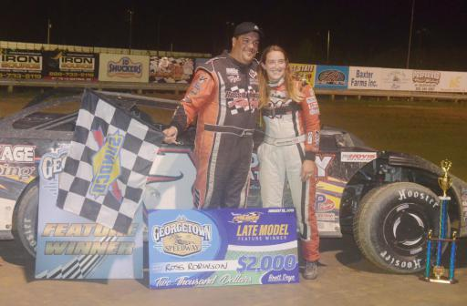 Ross Robinson celebrates his win with his fiancée and fellow racer, Amanda Whaley.