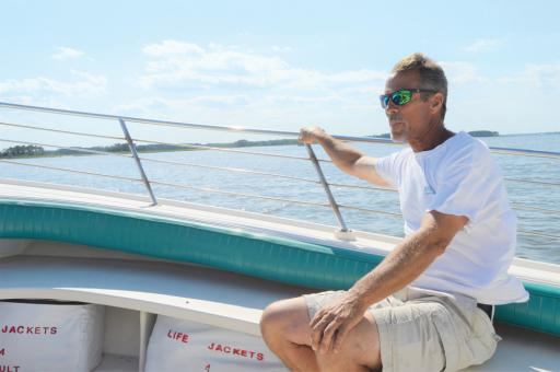 Captain Tom Fowler of Back Bay Tours heads out toward the Indian River Bay for a tour.