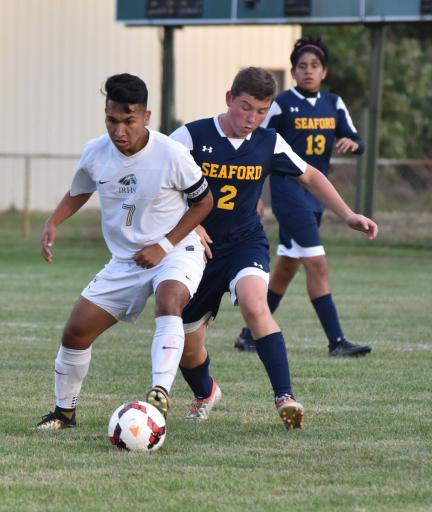 Oscar Cruz boxes out a defender during Indian River's 4-2 win over Seaford on Thursday, Oct. 5.
