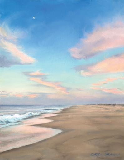 Rice's new pastel, 'A Moment in Time,' will be released in print Saturday, July 7, at 11 a.m., along with prints of her oil 'Wild Horses.' Rice will use the paintings and others to demonstrate the differences between pastels and oils in creating luminescent beach scenes.