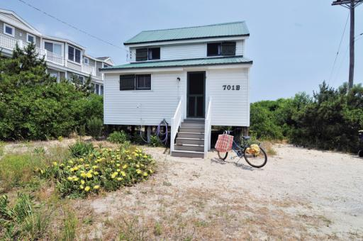 The McCabe Cottage is located at 701 Bunting Avenue (oceanfront, at Atlantic Street) in Fenwick Island.
