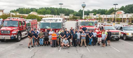 Various Delaware firefighters staged at the Queenstown Premium Outlets in Maryland before heading down to North Carolina to aid responders there in dealing with the effects of Hurricane Florence.