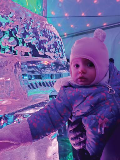 Abigail McCabe, 9 months takes in the wonders of Fire & Ice. The Bethany-Fenwick Area Chamber of Commerce held its annual Fire & Ice Festival in Bethany Beach, Ocean View and Millville on Jan. 24-26, featuring ice sculptures and entertainment for the family.