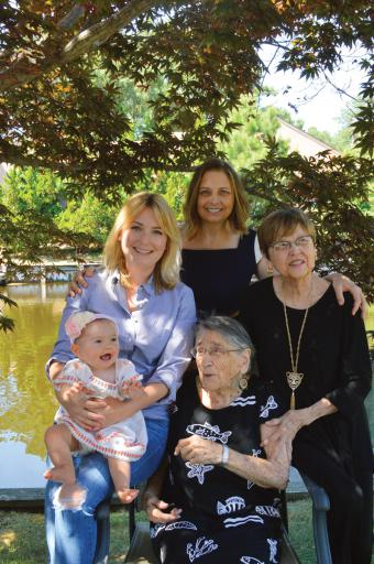 In South Bethany, five generations of women smile at the matriarch's house .