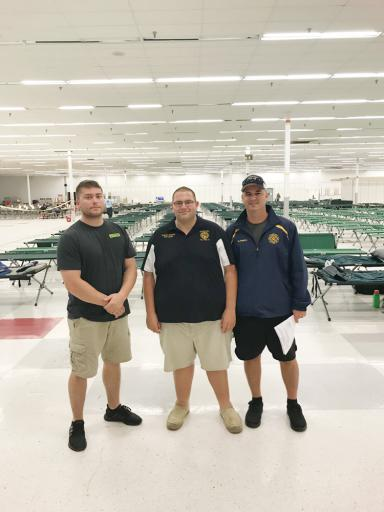 Frankford Volunteer Fire Company member Brian Bacon, Chief Hunter Holland and member Mike Rogers recently returned from nearly a week in Fayetville, N.C., where they helped local fire companies and emergency responders in recovery efforts after Hurricane Florence.