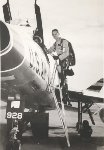 Test Pilot Capt. Ted Freeman boards his USA Faircraft.