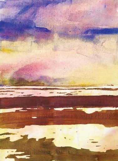 "Eileen Olson, ""Tidal Pools,"" watercolor"