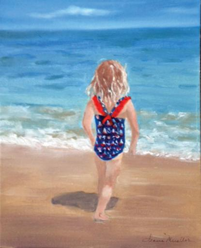 Jeanne Mueller's 'Fun in the Surf' oil painting is just one of the paintings to be featured during Gallery One's July show, 'Beach Odyssey.'