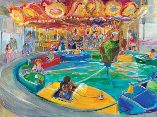 Gallery One's current exhibition  'Same Place, Different Takes — Funland,' Aug. showing now through August 28,  features work by Marybeth Paterson, Leslie McCaskill, Dale Sheldon and Laura Hickman.  Shown here, Leslie McCaskill's 'Family Funland.'