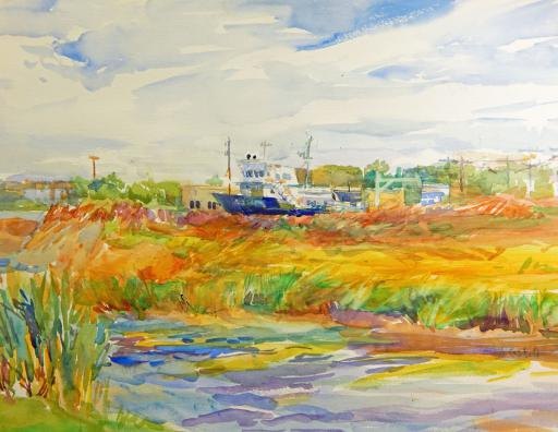 Lesley McCaskill's watercolor 'Moored by the Canal' is just one of the many artworks to be shown at Gallery One's March show, 'Our Towns.'