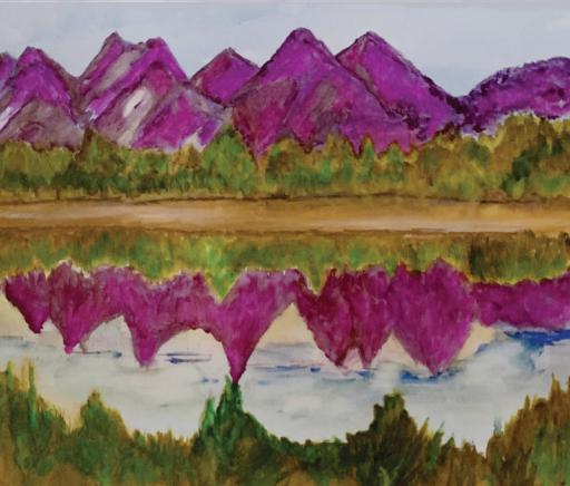 Pat Riordan paints a range of mountains in 'Purple Majesty.'