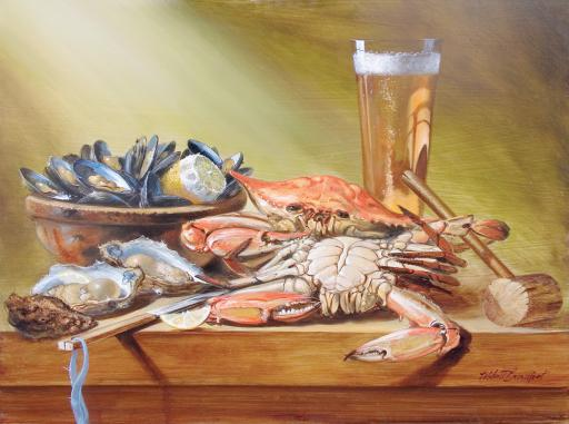 W. Scott Broadfoot's 'Crabs and Beer' depicts a detailed display of one of our favorite treats, expertly expressed in his classical style. Anyone else ready for summer?