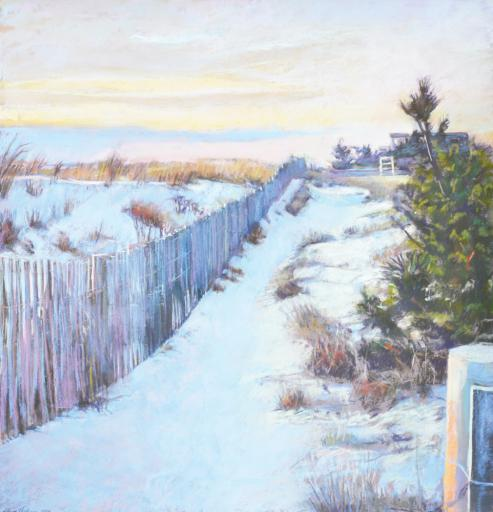 Laura Hickman takes us down snow-touched dunes in 'Looking South Bethany Beach,' one of the many pieces on display for Gallery One's 'Warm &Cool' exhibit.