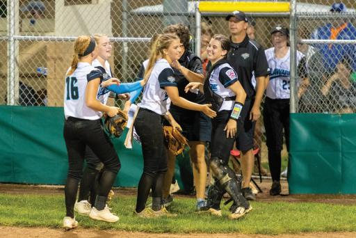 Players celebrate after a previous Little League World Series game.