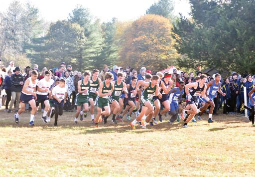 The start of the boys' DIAA Division II race at Killens Pond on Saturday, Nov. 9.