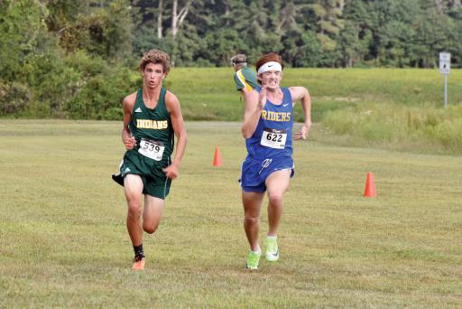Indian River's Declan Burke pushes to the finish line at IR's meet at Sussex Central on Wednesday, Sept. 18.