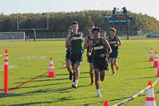 The Indian River boys near the finish line during the meet on Tuesday, Oct. 15.