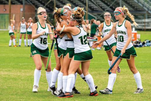 The Indians gather for a celebration after Avery Congleton scored a goal in IR's win over CR on Thursday, Sept. 5.