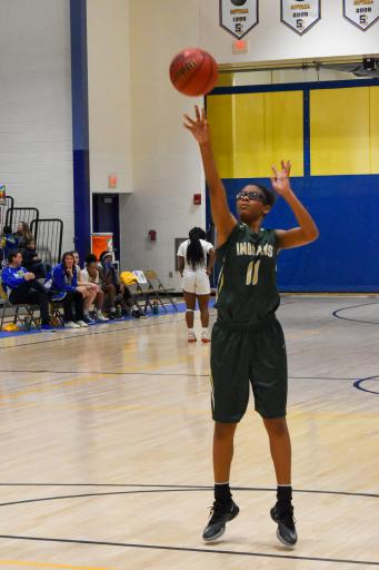 IR senior Yonya Wise shoots a free throw that she would make on the way to nine points in the Indians' 46-32 loss to Sussex Central last Thursday, Feb. 20.